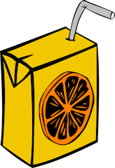 A single use orange juice drink box with a straw inserted into the box