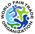 World Fair Trade Organization (WFTO) logo in blue, green and black