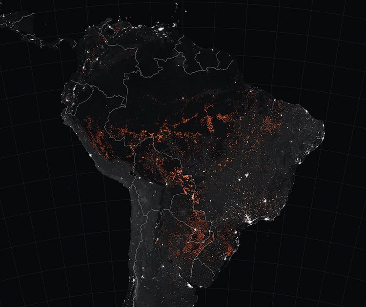 Amazon Rainforest Fires. NASA map of forest fires.