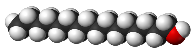 Ball and stick model of cetyl alcohol.